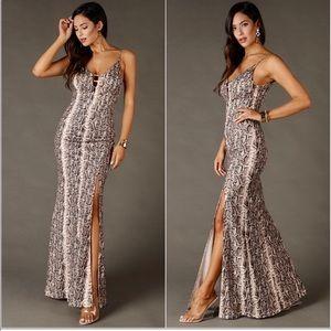 Snakeskin Print Maxi Dress